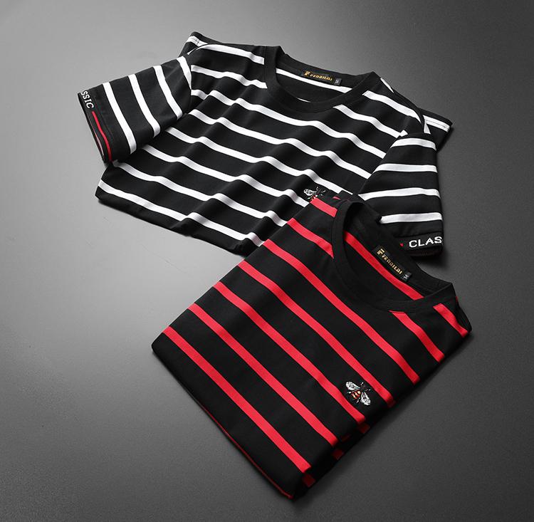 Short sleeve t-shirt men 2020 summer new European station black and white stripe trend casual round neck slim half sleeve T-shirt