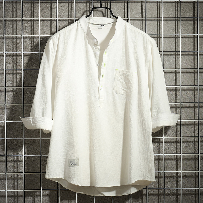 Summer short sleeve white shirt mens thin Korean fashion casual linen mid sleeve 5.5 sleeve 7.5 sleeve shirt