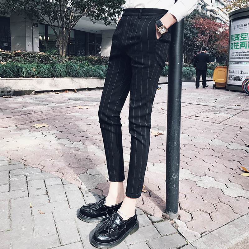 Western pants mens British slim stripe 9-point suit pants Han version small leg pants spring and summer fashion stylist casual pants