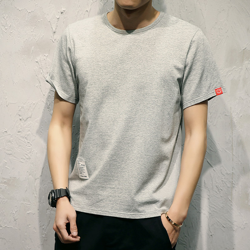Summer mens Korean Short Sleeve T-Shirt youth chubby large loose half sleeve student day round neck solid color bottomed T-shirt