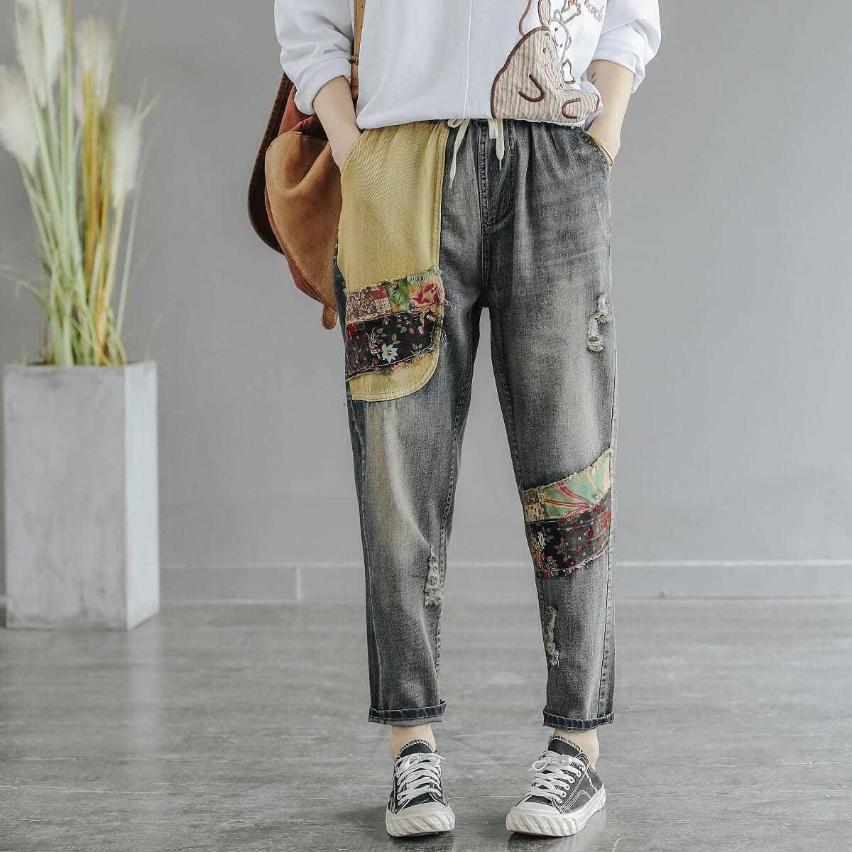 春季新款撞色贴布刺绣牛仔裤直筒裤女夏季宽松百搭松紧腰女裤子
