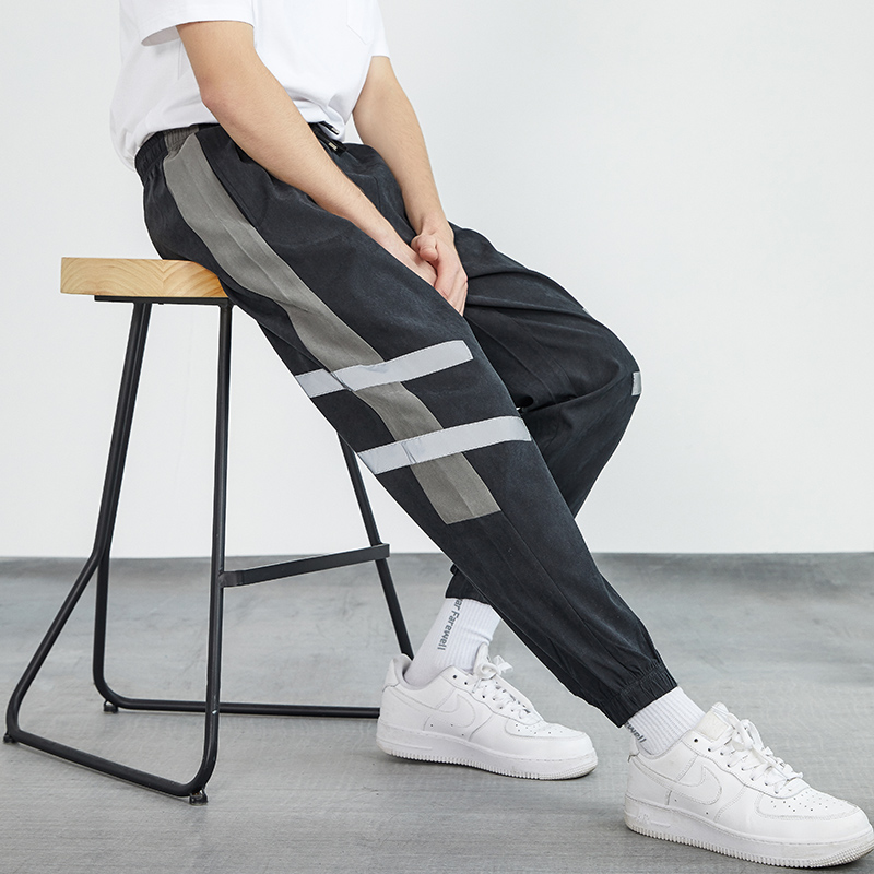 Pants mens spring new Korean version of individual legged sports pants boys trend handsome students with casual pants
