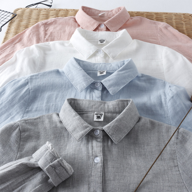 Small s size 80 Jin 155cm small men and women Han Fan small square collar solid cotton cotton yarn with long sleeve shirt