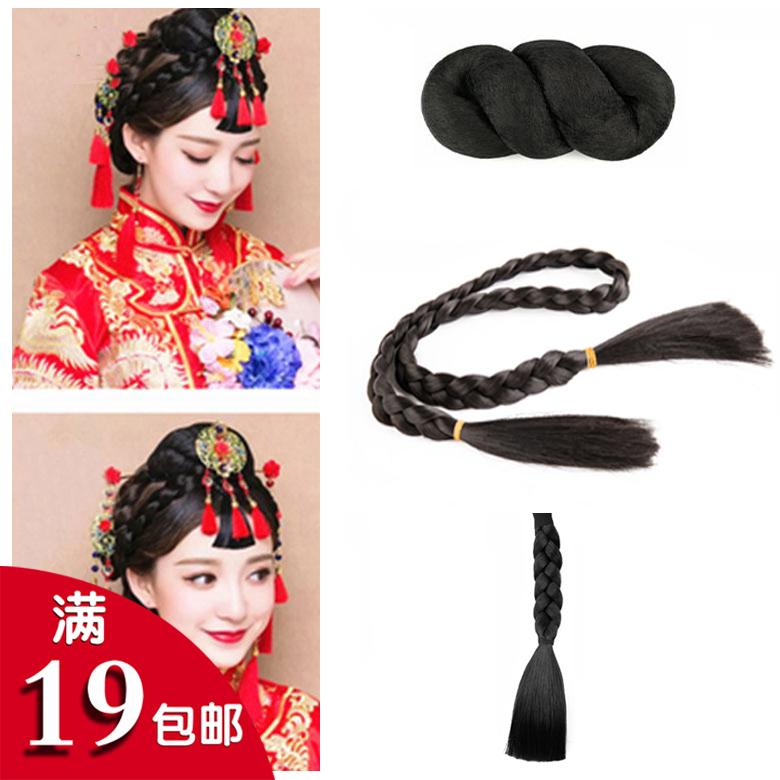 古装秀禾发包组合盘发造型中式新娘发包刘海燕尾辫子假发垫发套装