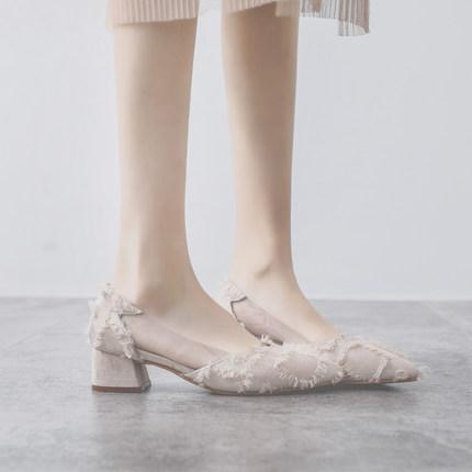 尖头韩版2019春季新款浅口粗跟单鞋