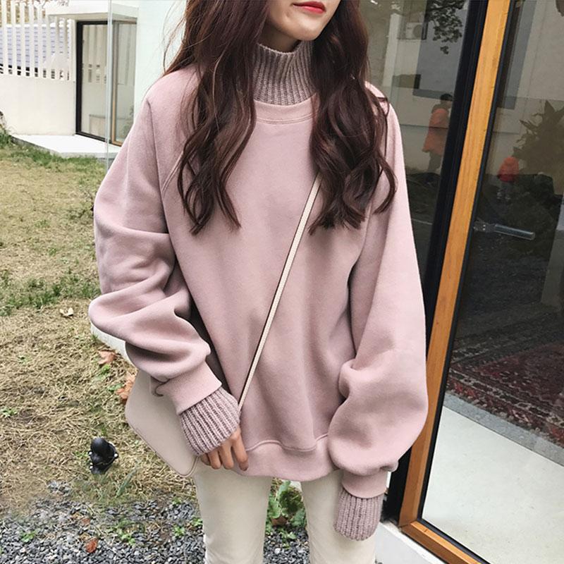 卫衣女秋冬2020新款韩版宽松假两件高领加绒加厚毛衣外套学生上衣