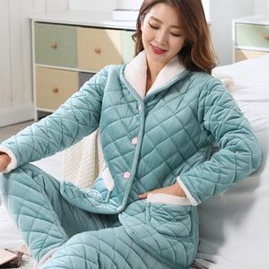 睡衣女冬季三层加厚夹棉睡衣女珊瑚绒法兰绒秋冬天保暖棉袄家居服