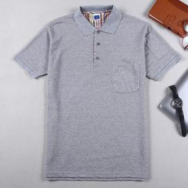 短袖T恤定制帶口袋廠服polo有翻領廣告文化衫工作服團體印制LOGO圖片