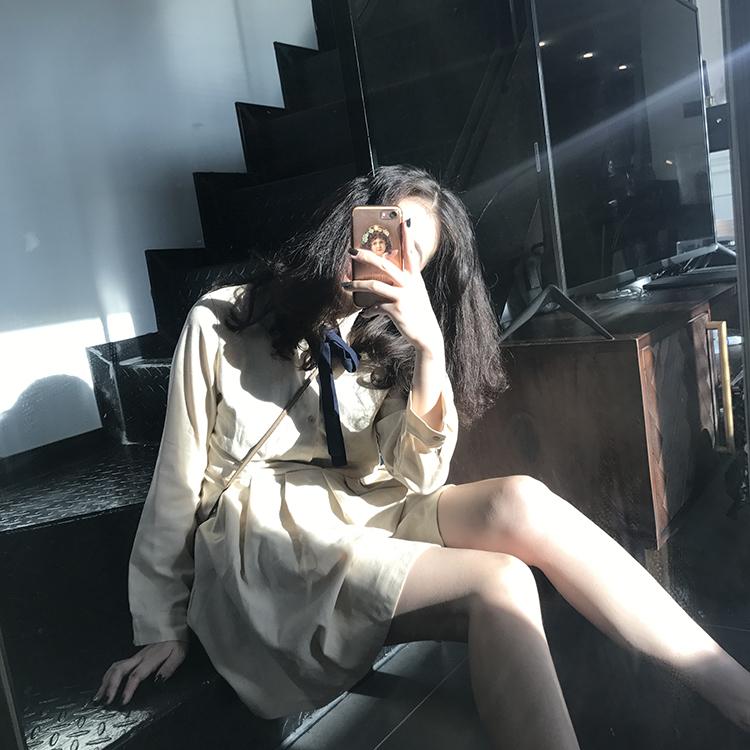 限100000张券naoao棉麻连衣裙女夏收腰显瘦衬衫