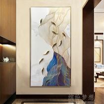 纯手绘轻奢油画入户玄关九鱼图装饰画现代简约立体走廊挂画竖版