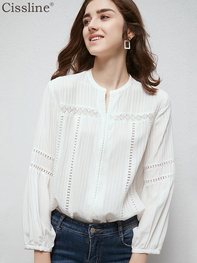 白色真丝长袖衬衫女2019秋装新款设计感小众显瘦打底桑蚕丝上衣女限时秒杀