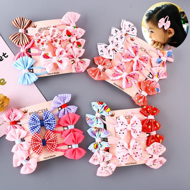8个装 女童手工蝴蝶结发夹bb夹 韩版公主头饰儿童边夹刘海夹宝宝