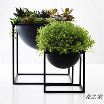 花之家 北欧风简约落地桌面阳台创意设计师铁艺花盆花架休闲空间
