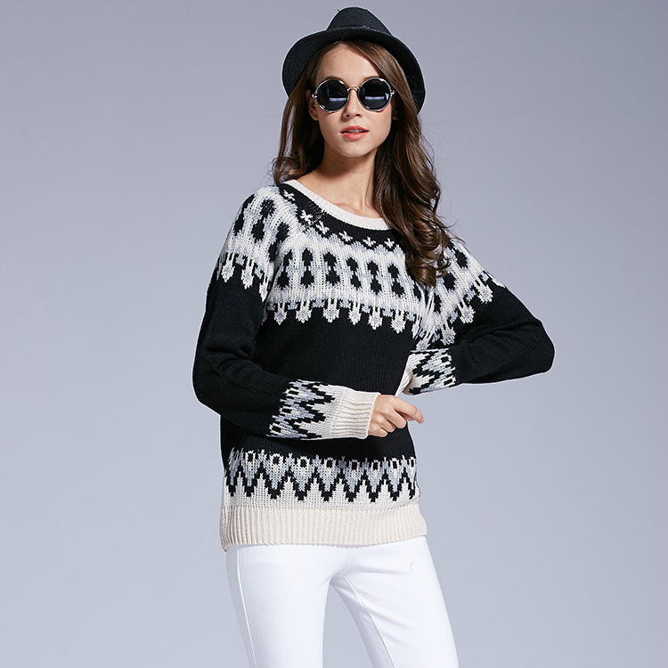 New European and American trend retro national fengfel island pattern mens and womens T-shirt round neck sleeve casual sweater
