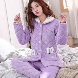 珊瑚絨三層夾棉睡衣女秋冬季加厚加絨保暖秋冬款法蘭絨家居服