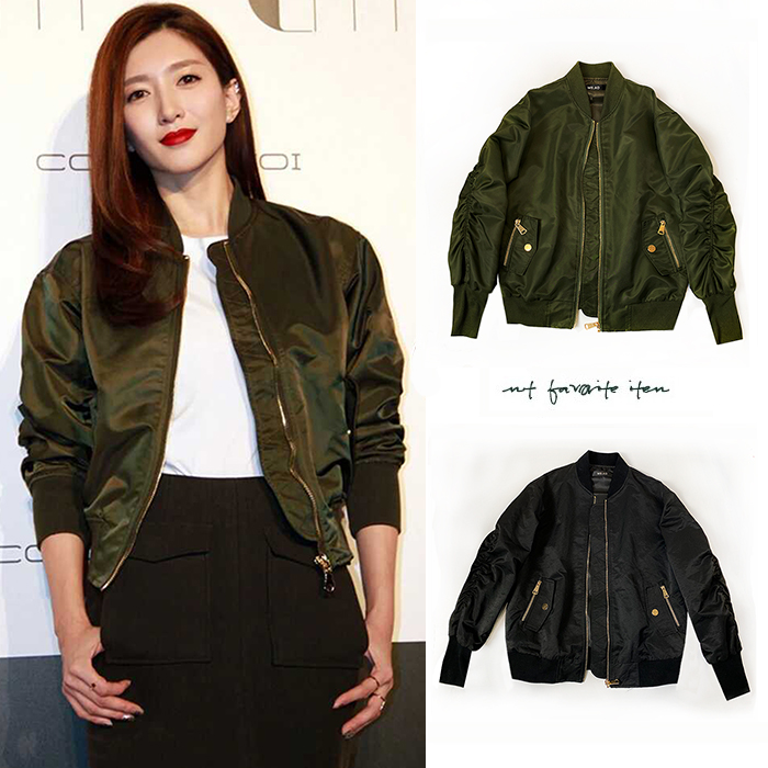 Jiang Shuyings same bomber jacket jacket for women new style pilot jacket for autumn and winter 2019 short and thin