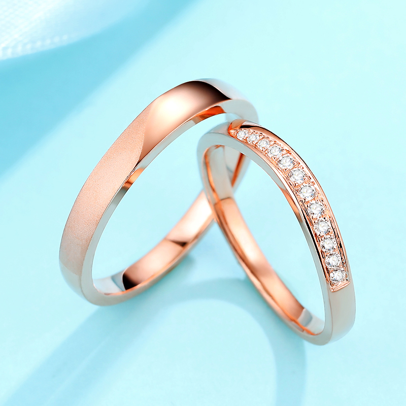 Permo Diamond Ring 18k rose gold wedding pair ring diamond ring a couple of lovers simple authentic