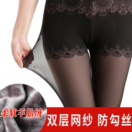 冬季女高腰打底裤肉色踩脚图片
