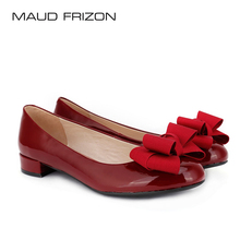 Maud frizon Meng fei-chang flat-soled round-headed lacquer leather lady bow shallow-mouthed boat shoes, single shoes, Bridesmaid shoes