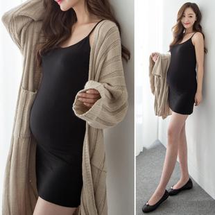孕妇莫代尔吊带打底裙中长款 可调节包臀背心裙衬裙怀孕期连衣裙夏