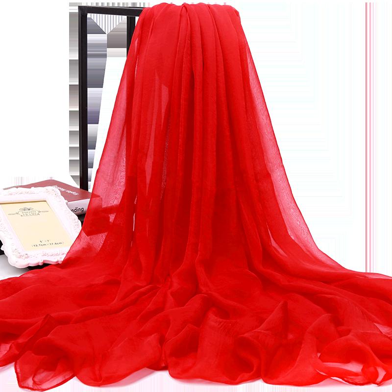 超大丝巾女百搭围巾大红色超长款纱巾春秋冬季薄款防晒沙滩巾披肩