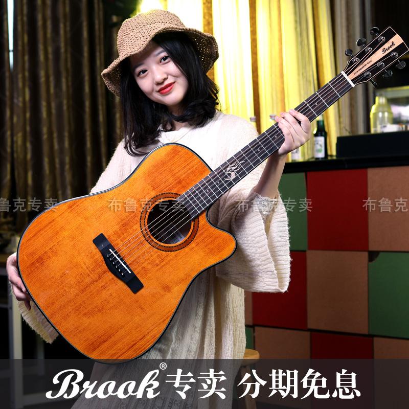 正品brook布鲁克吉他s25民谣木吉他面单板41寸初学复古电箱琴学生