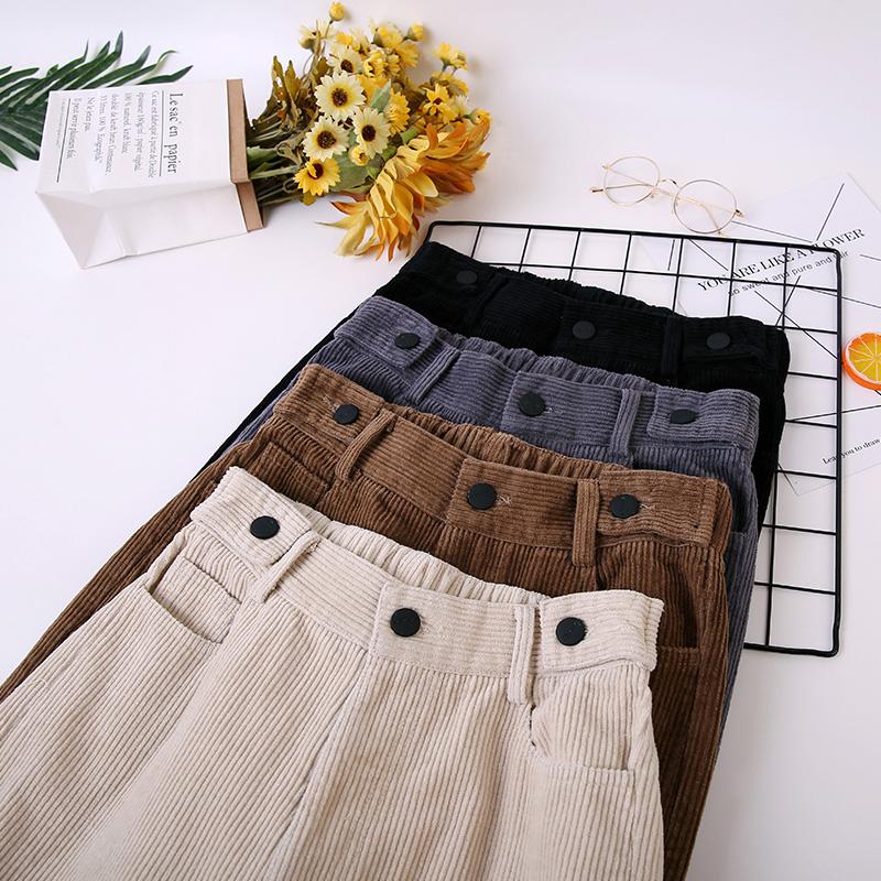 Corduroy womens pants loose cashmere radish pants casual elastic waist small autumn and winter corduroy pants children