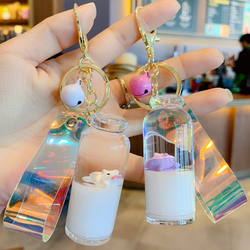 猪猪牛奶瓶抖音款白色挂饰现货可爱流沙冲浪钥匙扣入油女生包挂件