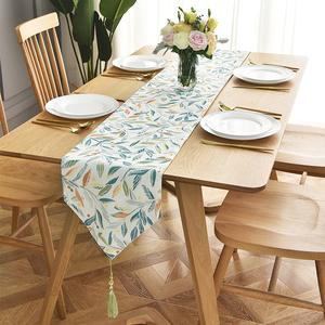 北欧棉麻茶几桌旗美式鞋柜桌布现代简约餐边柜盖巾电视柜长条盖布