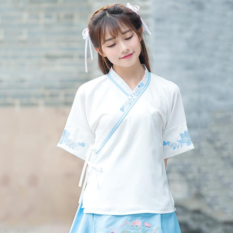 2017夏装新款民族风女装中国风改良交领系带上衣复古汉元素汉服女