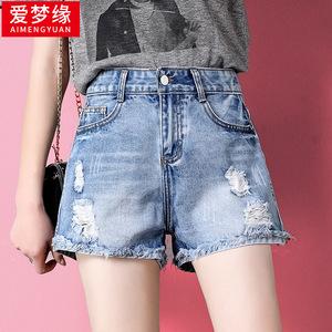 领3元券购买网红破洞牛仔高腰显瘦韩版宽松短裤