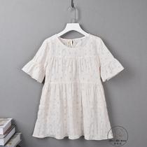 香香小熊中大童女童装夏装小清新宽松荷叶边短袖圆领娃娃衫裙衫