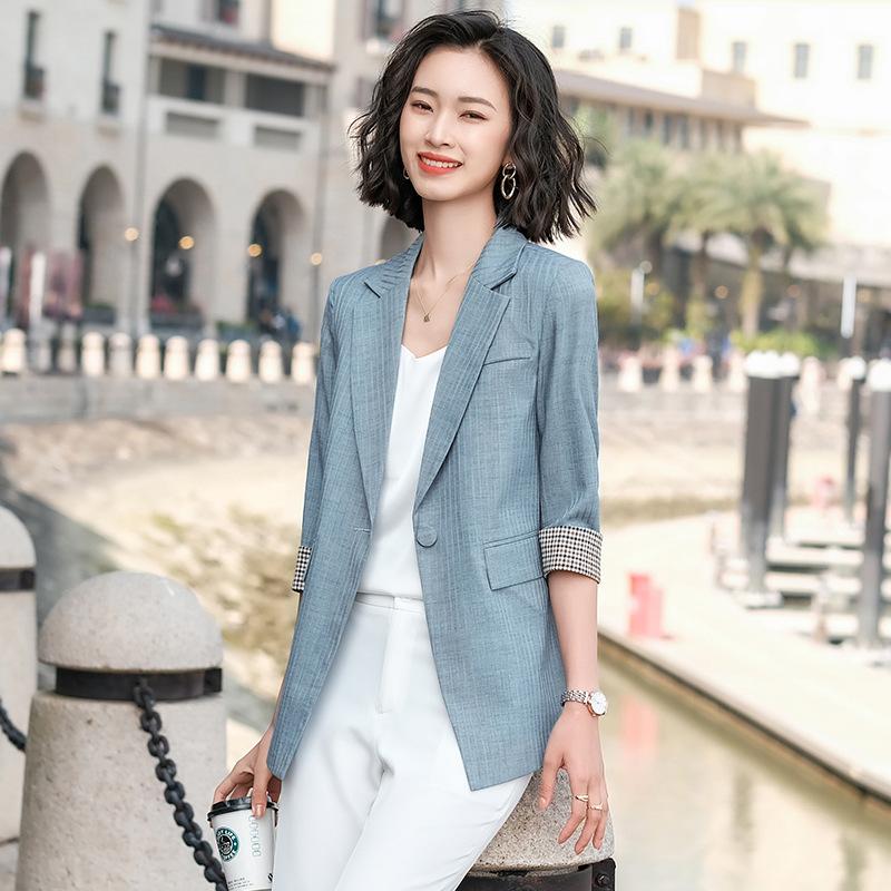 春装新款韩版时尚修身7分袖条纹小西装女式职业装西服休闲外套女