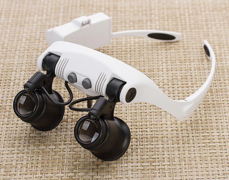 高清头戴式放大镜LED灯10倍15倍20倍25倍眼镜式维修手机钟表鉴定