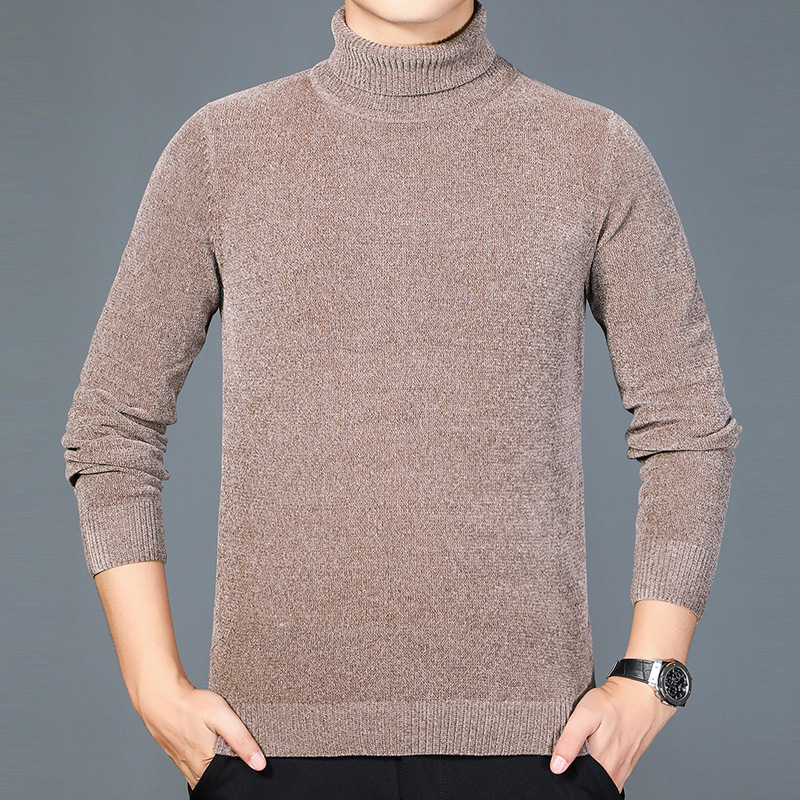 New autumn and winter cashmere sweater mens high neck solid color Pullover mens sweater middle-aged leisure thickened warm sweater
