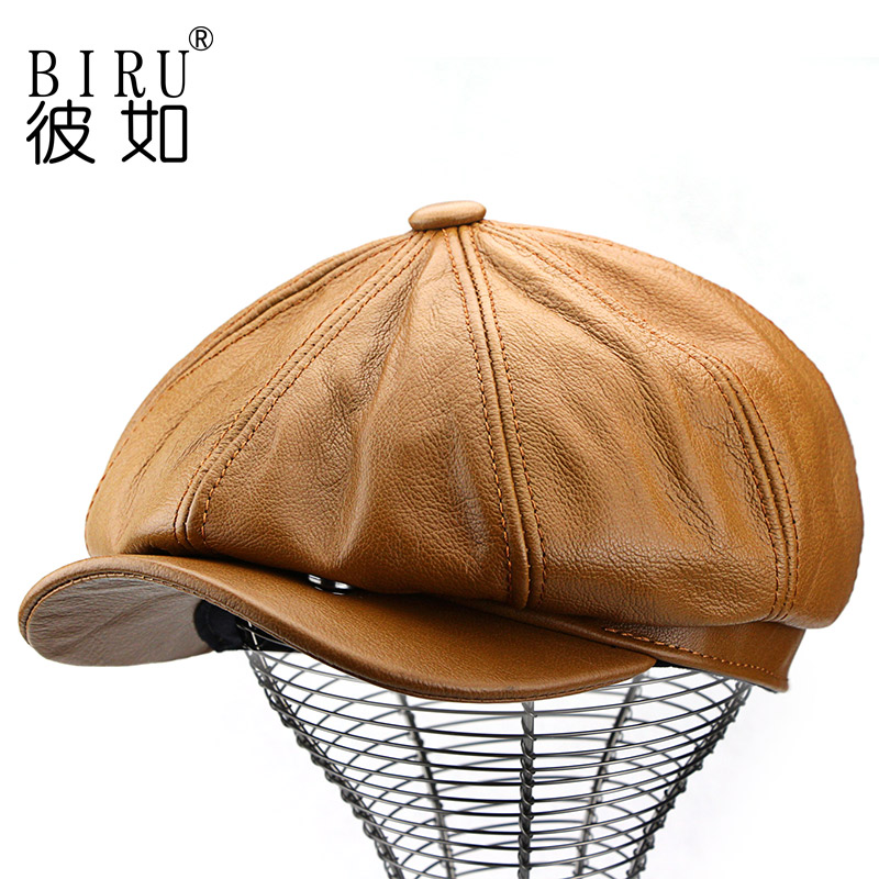 Leather hat in spring and winter, mens octagonal hat, painters hat, British beret, womens Cowhide cap, fashionable