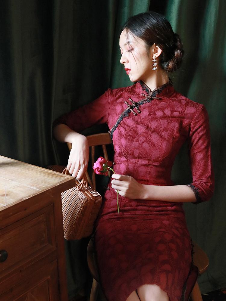 民国风老上海旗袍年轻日常款改良版中国风复古红色古装连衣裙少女