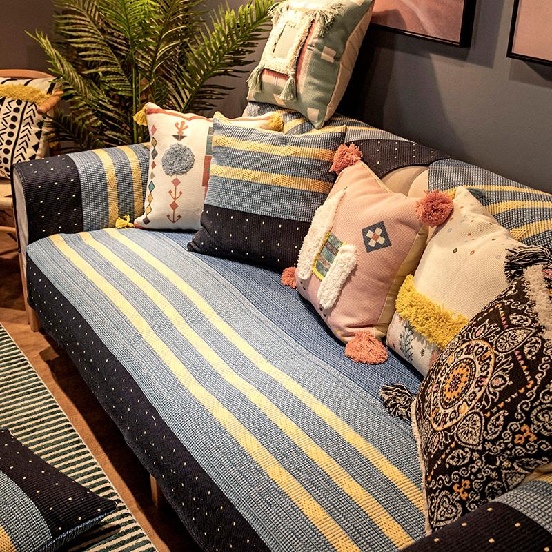 20.00元包邮沙发垫四季通用布艺防滑北欧棉麻皮坐垫子简约现代客厅沙发套罩巾