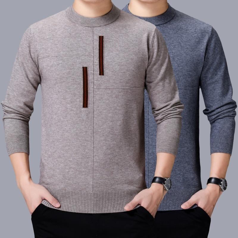 2020秋冬韩版新款男式羊绒衫针织套头长袖时尚打底毛衣潮
