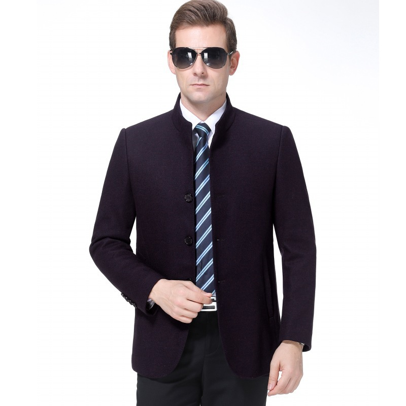 Fall and winter stand collar cashmere jacket middle aged mens business casual wool coat