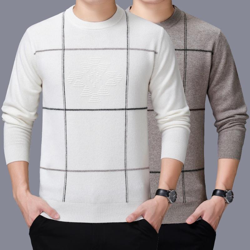2020年新款中青年套头保暖打底衫男装冬季品牌毛衣厚款男式羊绒衫