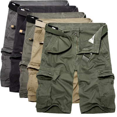 cigis ashed Cotton cargo shorts casual short pants for Male