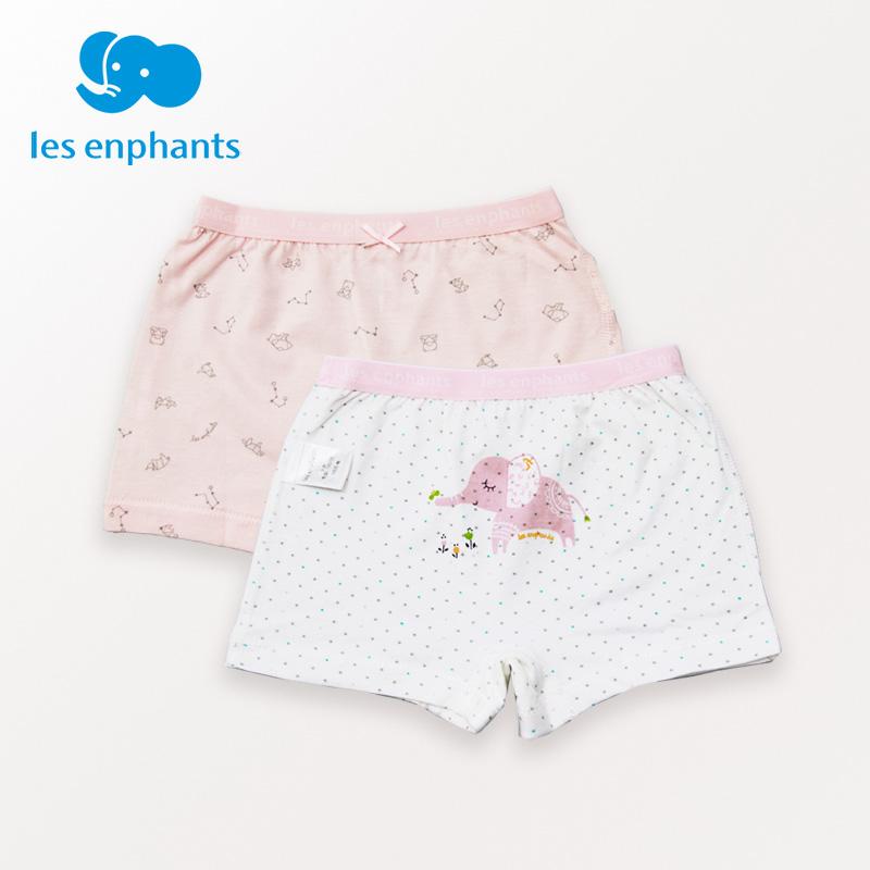 丽婴房童装2018新款女童纯棉舒适可爱小象两条装平角内裤四角裤