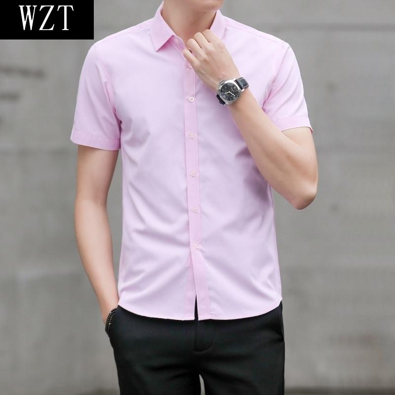 下天西装T�S内搭韩版青少年衬衫t-shirt三3分袖男神范潮男修身