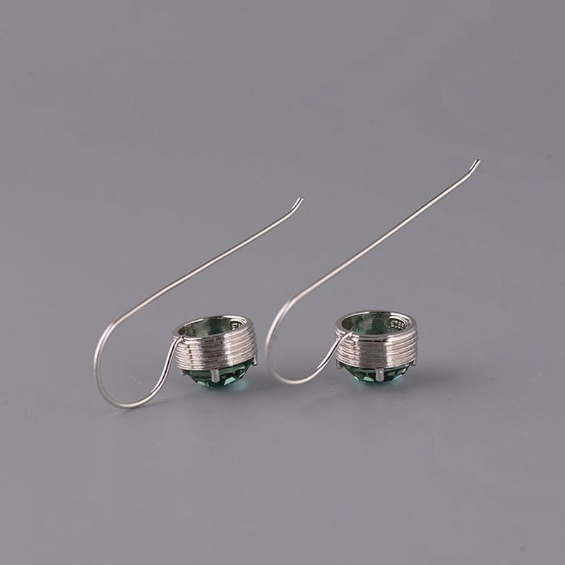 Plain silver simple silver synthetic Zircon Earrings temperament style 925 Silver Earrings s female