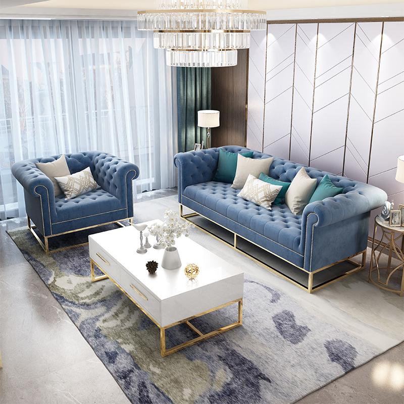 美式轻奢样板间组合后现代简约沙发(非品牌)