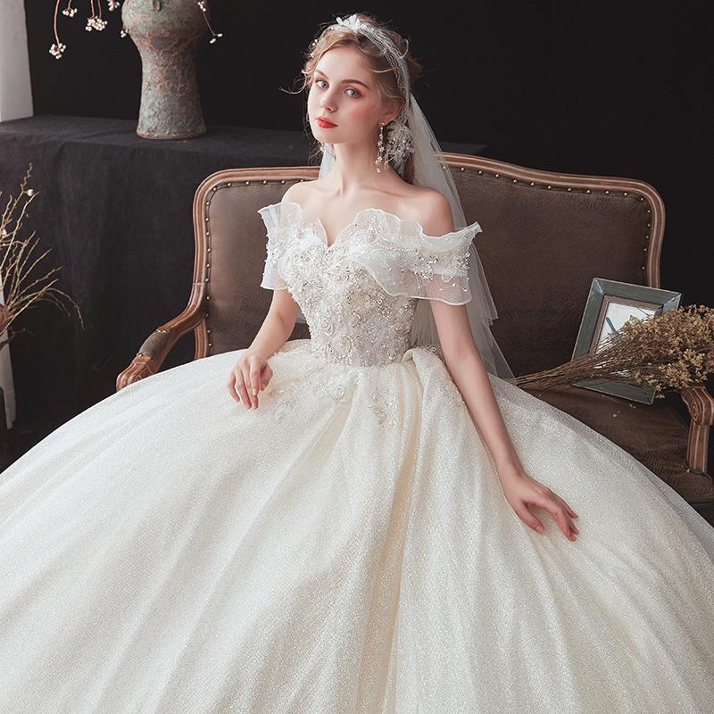 一字肩婚纱礼服2020新款气质新娘女森系小个子超仙法式星空拖尾轻图片