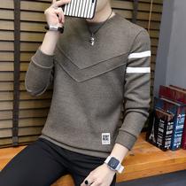 秋冬季新款男衬衫领针织衫韩版打底衫冬季加绒假两件男生毛衣2018