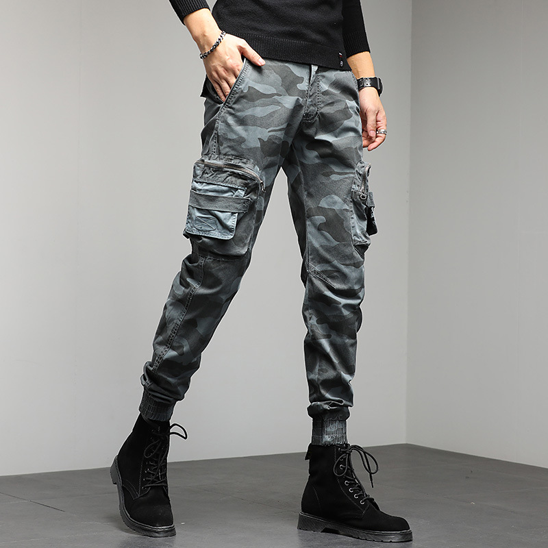 Mens camouflage work casual pants 2021 new youth fashion Multi Pocket tapered middle waist micro elastic Leggings