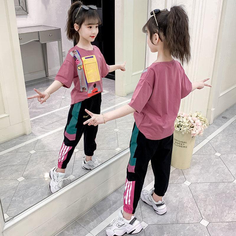 女童套装网红夏装2021新款洋气中大童夏季儿童装时尚女孩两件套潮